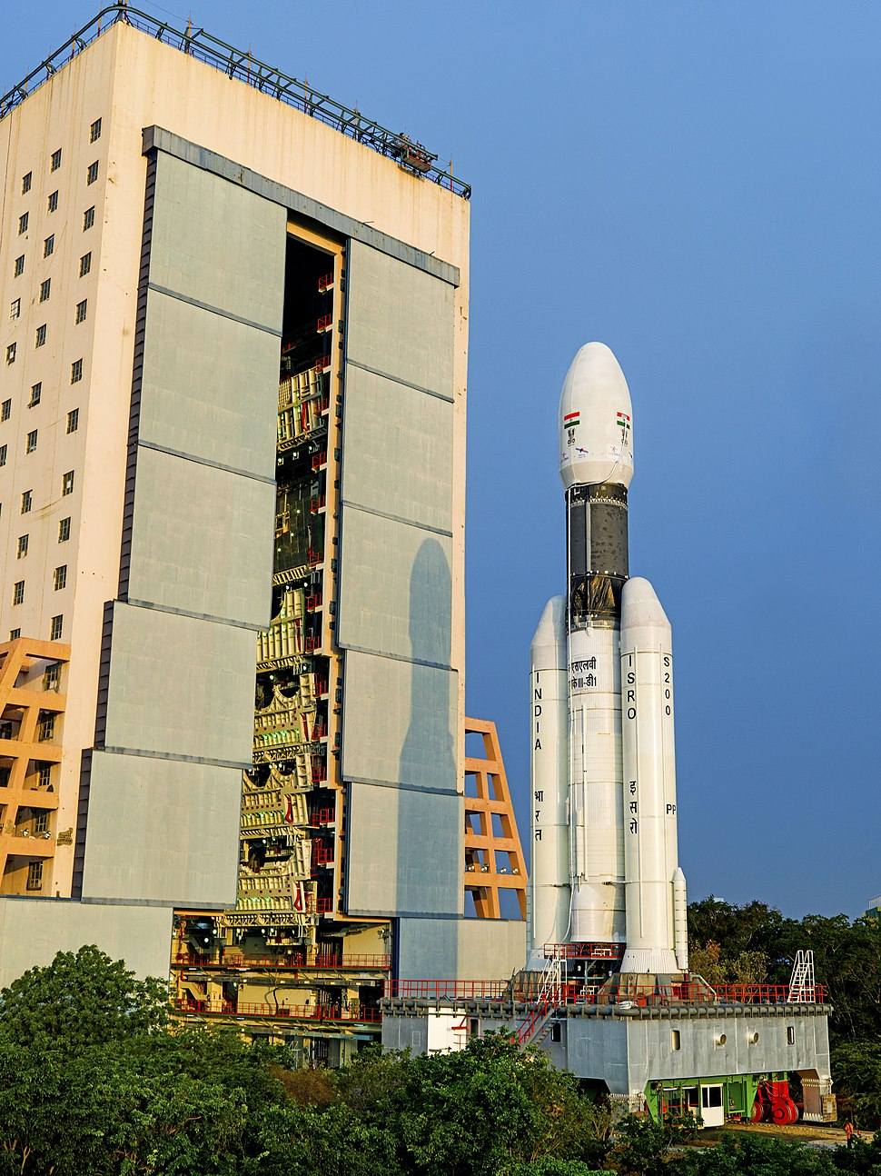 GSLV-Mk III-D1 being moved from Vehicle Assembly Building to second launch pad