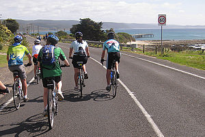 Great Victorian Bike Ride - Riders of all ages and abilities do the ride; here a mixed group enters Lorne on the 2009 GVBR