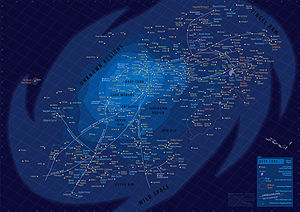 Alderaan - Alderaan (Core Worlds) illustrated on a map of the fictional Star Wars galaxy