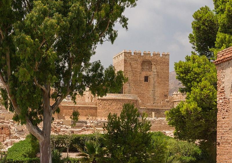File:Gardens and tower Alcazaba, Almeria, Spain.jpg