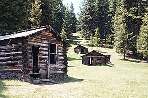 Garnet, Montana - Several of Garnet's remaining miner's cabins