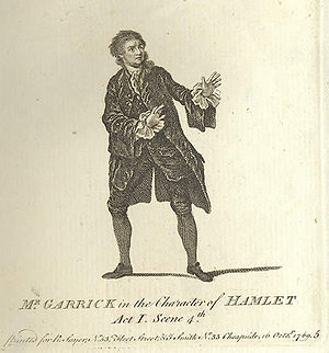 Hamlet in performance - David Garrick as Hamlet in 1769. The iconographic hand gesture expresses his shock at the first sight of the ghost.