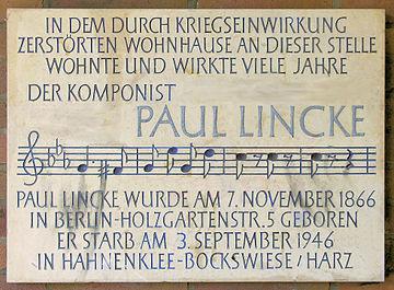 Gedenktafel Oranienstr 64 Paul Lincke