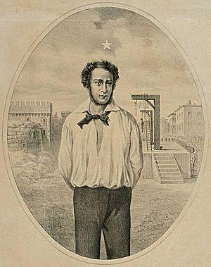 Stella d'Italia - Image: Geminiano Vincenzi Ciro Menotti al supplizio litografia 1875 1899