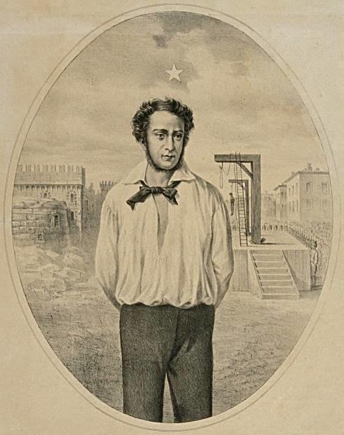 Geminiano Vincenzi - Ciro Menotti al supplizio - litografia - 1875-1899