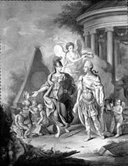 Christian VII som kunstens og videnskabens beskytter. Allegori