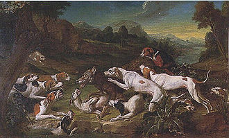 Wolf hunting - Wolf Hunt by Gerard Rijsbrack, depicting a wolf hunt by the French king's hounds, 3rd quarter of 18th century