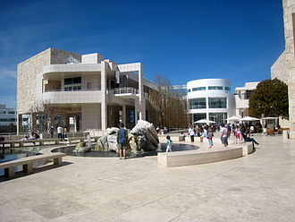 Getty Center - Terrace between pavilions looking toward Exhibitions Pavilion and Rotunda.