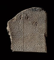 "The ""Deluge tablet"" (tablet 11) of the Epic of Gilgamesh in Akkadian."