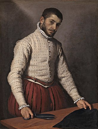 "Doublet (clothing) - The unidentified tailor in Giovanni Battista Moroni's famous portrait of ca 1570 is in doublet and lined and stuffed (""bombasted"") hose."
