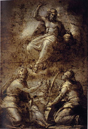 Girolamo Macchietti - Girolamo Macchietti, preparatory drawing, Pala Lioni, Florence, Gabinetto Disegni, Uffizi Museum