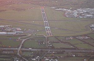 Gloucestershire Airport - Runway 27 from the air in October 2012, showing the newly installed lighting