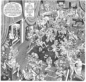 "Goodman Beaver - In ""Goodman Goes Playboy"" (1962), Kurtzman and Elder satirize Hugh Hefner's swinging lifestyle, using parodies of Archie Comics characters."
