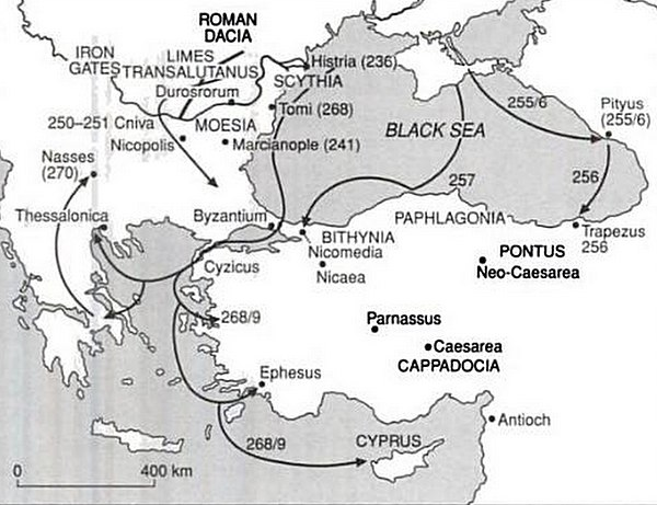Gothic invasions of the Roman Empire in the 3rd century Gothic raids in the 3rd century.jpg