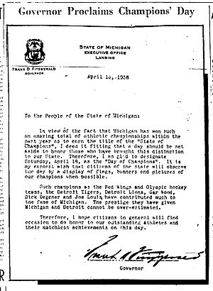 Champions Day - Governor Fitzgerald's Proclamation Letter