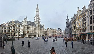 Grand Place - The Grand Place, with Brussels' Town Hall on the left