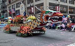 Dragon boat-replica float in 2008 parade. The festival includes races with actual dragon boats.