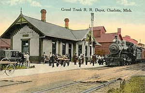 Grand Trunk Western Railroad - A 1912 postcard of the Grand Trunk Depot at Charlotte, Michigan built in 1885 by GTW predecessor Chicago and Grand Trunk Railroad