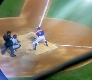 2015 National League Championship Series - Granderson takes an at-bat before singling in Lagares.