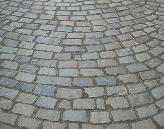 Sett (paving) - A road paved with setts, often confused with cobbles
