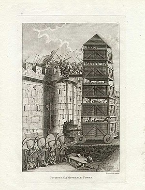 Rook (chess) - Illustration of a siege tower, which the rook may be intended to represent.