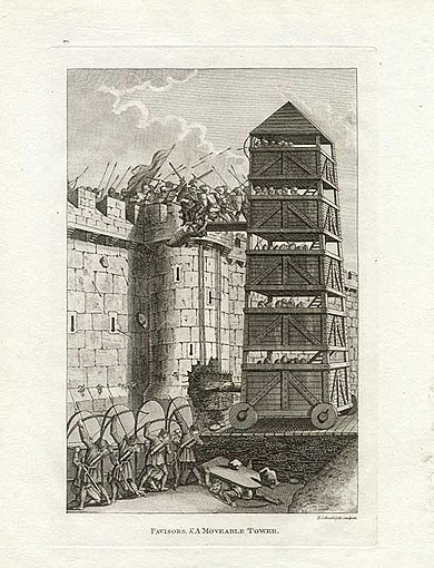 Grose-Francis-Pavisors-and-Moveable-Tower-Assaulting-Castle-1812