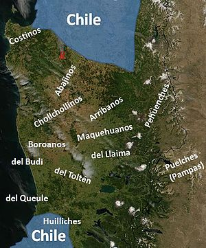 Occupation of Araucanía - Mapuche groups in Araucanía around 1850. De facto Chilean territory in blue.