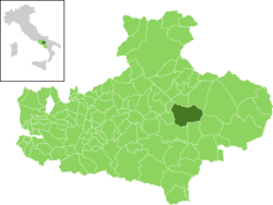 Location of Guardia Lombardi in the Province of Avellino