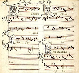 History of music in Paris - Kyrie from Messe de Nostre Dame composed by Guillaume de Machaut, about 1350