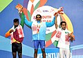Guru Raja (India) won the gold, Abdullah Ghafoor (Pakistan) won the silver, Chathuranga Lakamal Jayasooriya Arachchilage (Sri Lanka) won the bronze medal in 56 kg Men's weightlifting, at 12th South Asian Games-2016.jpg