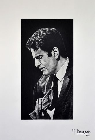 Guy Béart - Drawing representing Guy Béart and made by Michel Bourdais in July 1966 during the TV shows  Bienvenue chez Guy Béart .
