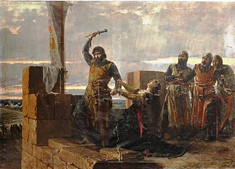 Salvador Martínez Cubells - Guzmán el Bueno Throwing the Dagger (1883)