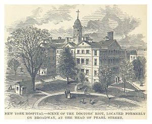 1788 Doctors' riot - New York Hospital, scene of the riot.