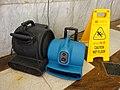 HK Sheung Wan Welland Commercial Building Plaza electric Ventilation fans n yellow sign Caution Wet Floor July 2016 DSC.jpg