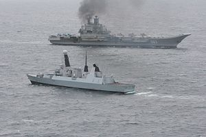 Standing Royal Navy deployments - Fleet Ready Escort HMS ''Dragon'' escorting the Russian aircraft carrier, ''Admiral Kuznetsov'', through the English Channel