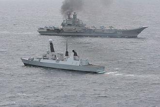 Standing Royal Navy deployments - Fleet Ready Escort HMS ''Dragon'' escorting the Russian aircraft carrier, ''Admiral Kuznetsov'', through the English Channel