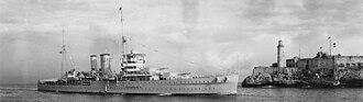 HMS York (90) - HMS York entering Havana harbour, January 1938