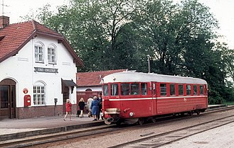 Tølløse Line - Railcar on the Tølløse Line at Kirke Eskilstrup station in 1974.