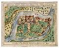 HUA-212004-Plattegrond van de burcht Trecht met omliggende bebouwing in opstand en de rivier de Oude Rijn.jpg