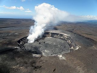 A pit crater located within the summit caldera of Kīlauea in Hawaii