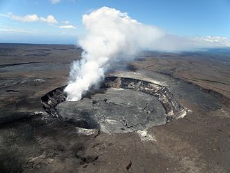 Hawaiʻi Volcanoes National Park - Aerial view of Halema{{okina}}uma{{okina}}u Crater, September 2009