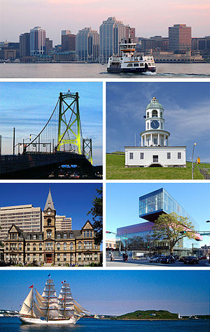 Clockwise from top: Downtown Halifax and Halifax Transit ferry, Town Clock, Central Library, Halifax Harbour and Georges Island, City Hall, Macdonald Bridge.