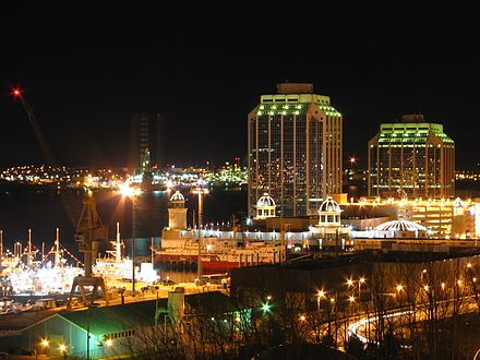 View of Purdy's Wharf, an office complex in Metropolitan Halifax. Halifax at night.jpg