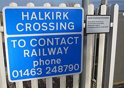 Halkirk level crossing information signs (13175567873).jpg