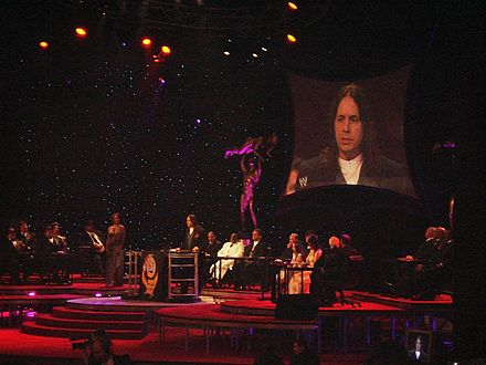 The induction of Bret Hart into the WWE Hall of Fame in 2006 Halloffame.jpg