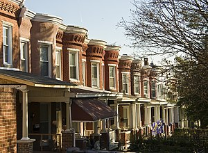 Hampden, Baltimore - Row houses on Roland Avenue