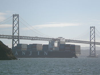 A Hanjin Shipping cargo shipping transiting Sa...