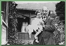 Photo of Hannah's grandfather, Max Arendt holding Hannah. Date unknown, probably aged 3-4