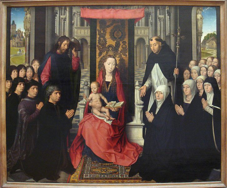 "Yellow Oriental carpet in Hans Memling altarpiece of 1488–1490. The ""hooked"" motif defines a ""Memling carpet"". Louvre Museum, Source Wikimedia, Art Scene India"