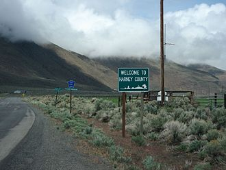 Harney County, Oregon - Sign welcoming drivers to Harney County